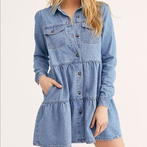 Free people Nicole Cotton Denim Dress